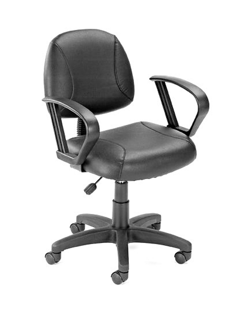 Office Chairs BLACK LEATHER PLUS POSTURE CHAIR W/LOOP ARM
