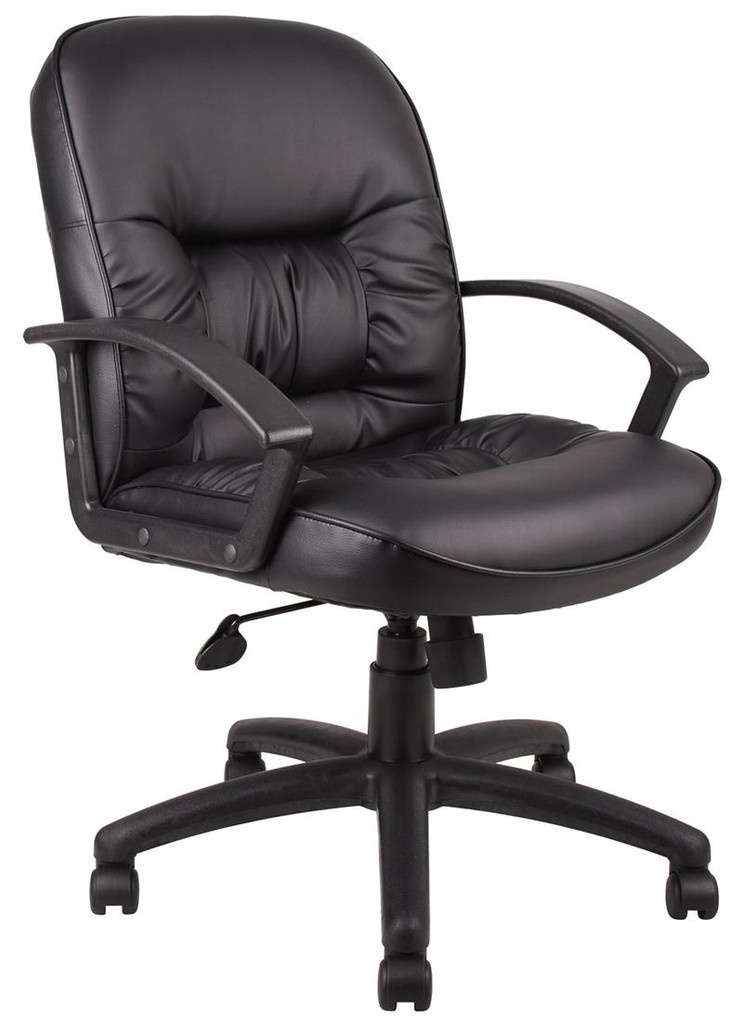 BOSS Chair B7307 EXECUTIVE MID-BACK LEATHER W/KNEE