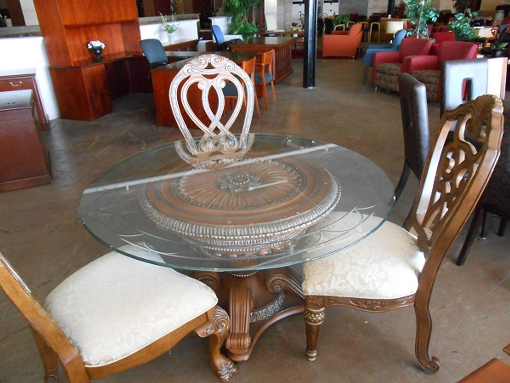 60' Rob and Stuckey Dining Room Table with Beveled Glass Top and (5) Chair set