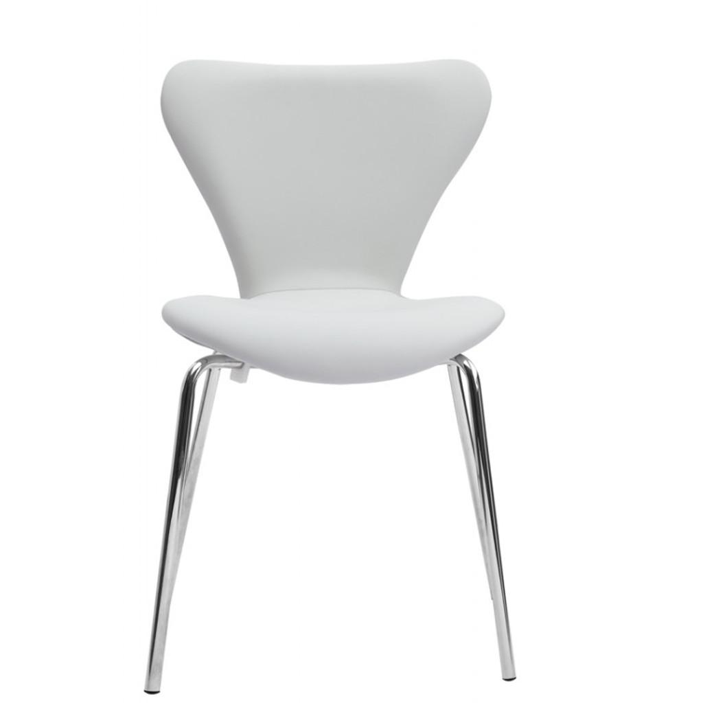 Ekto Visitor White Leather Chair