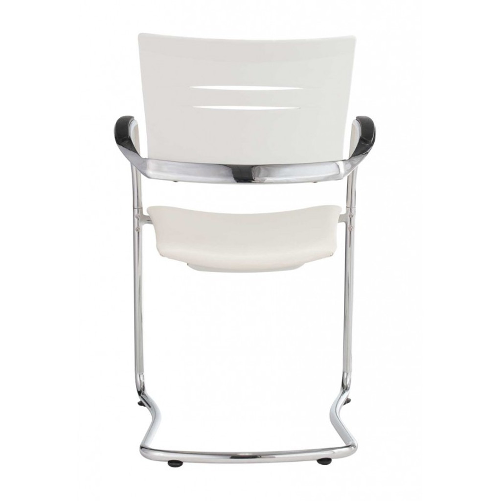 Slim Visitor White Chair (Chrome)