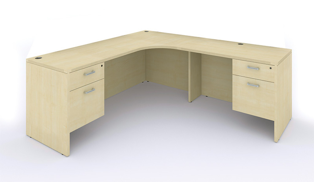Amber 'l' shaped credenza / desk, w/ inner curve