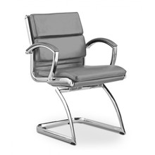 Livello Guest Chair Grey Leather