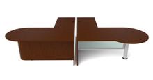 Cherryman Jade P-Shape L-Desk Metal Leg/Glass Panel