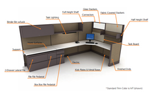 New and used office cubicle finishes
