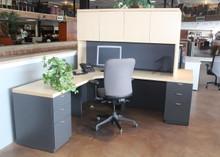 Lacasse L shape desk with hutch