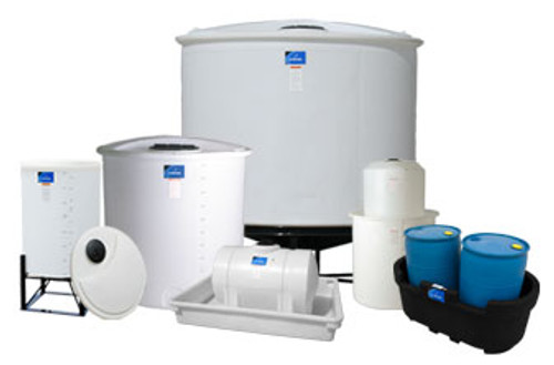 A variety of sizes of poly tanks ranging from 50 to over 500 gallons.