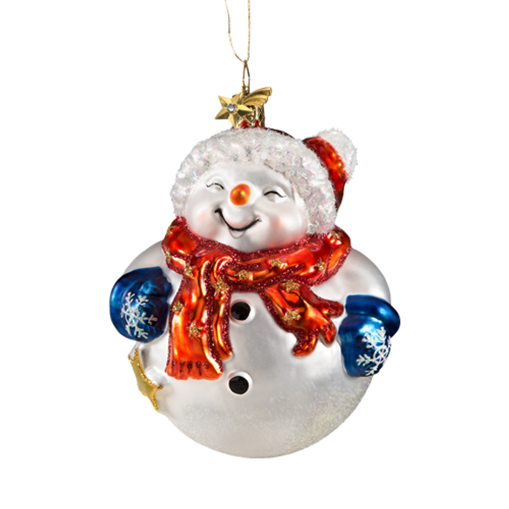 Round Jolly Snowman Glass Ornament