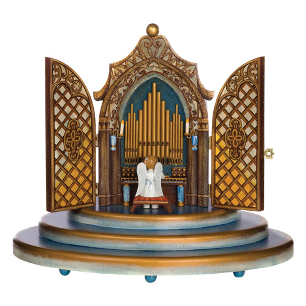 Organ Music Box with White Dress Angel