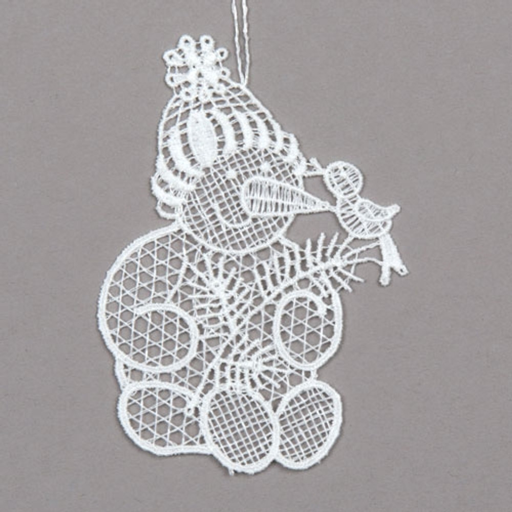 Snowman with Bird Linen Ornament