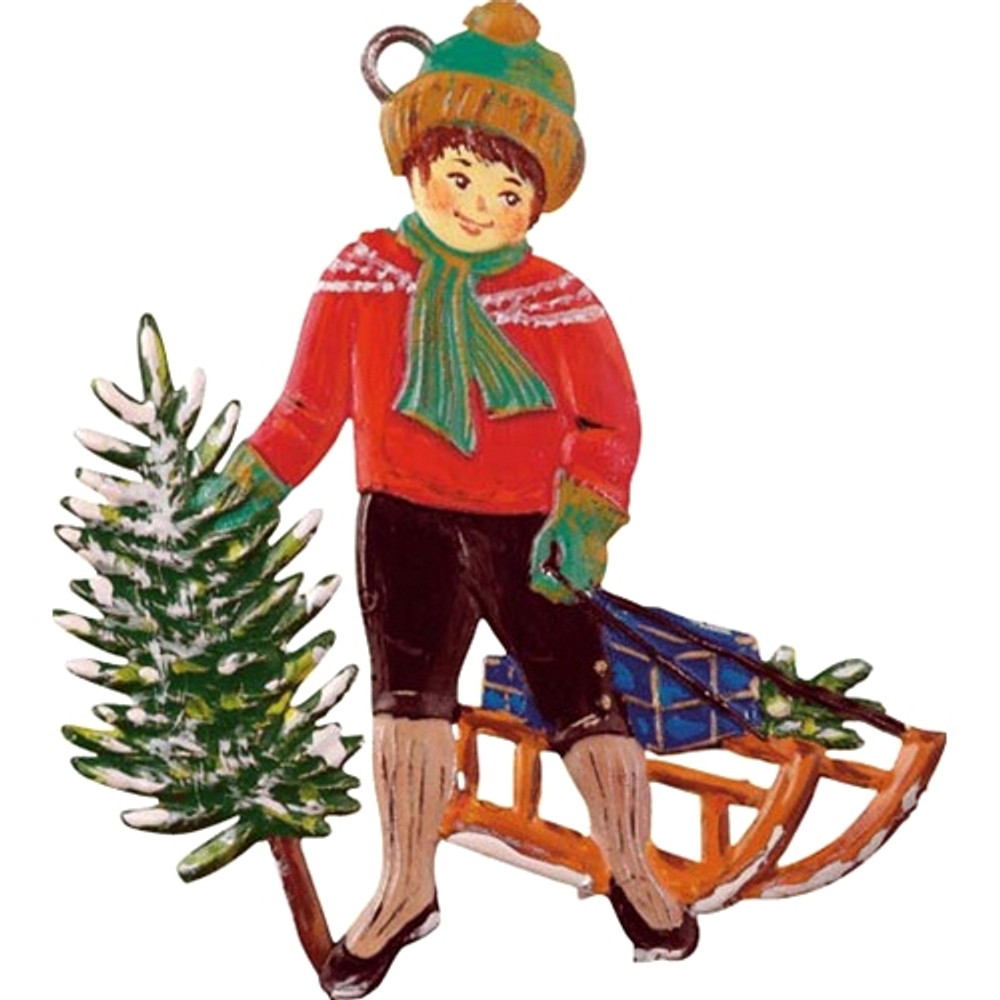 Boy with Sled and Tree