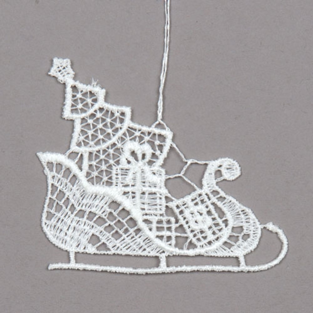 Sleigh with Gifts Linen Ornament