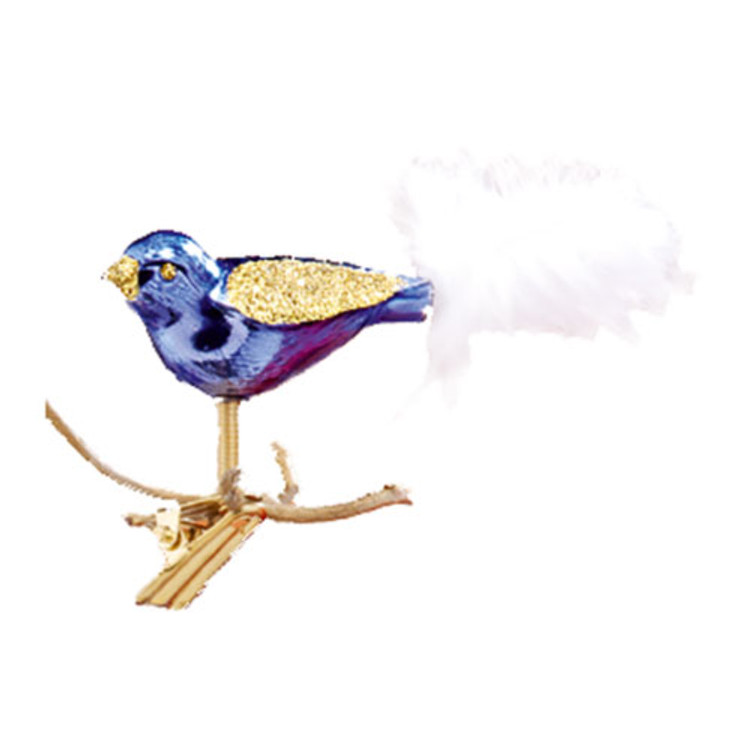 Purple & Gold Glitter Bird w/ White Tail