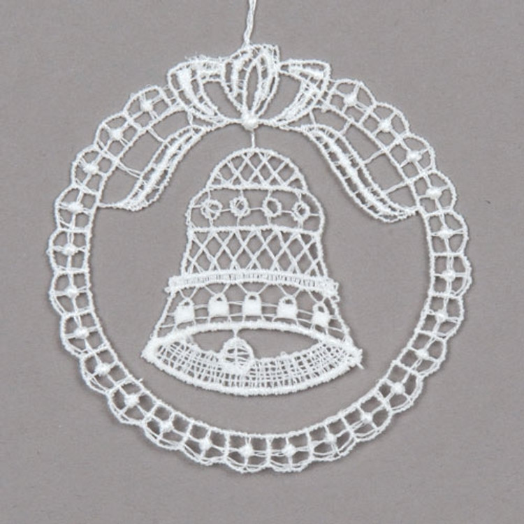 Bell in Lace Circle Linen Ornament