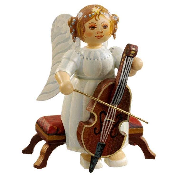 White Dress Angel with Bass Violin