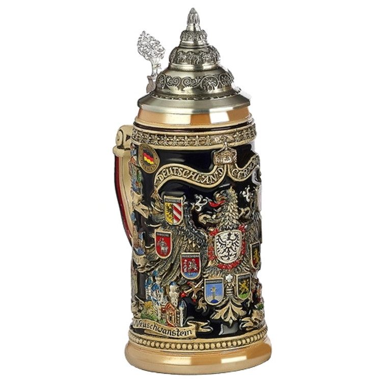 Eagle with German Cities Crests Beer Stein