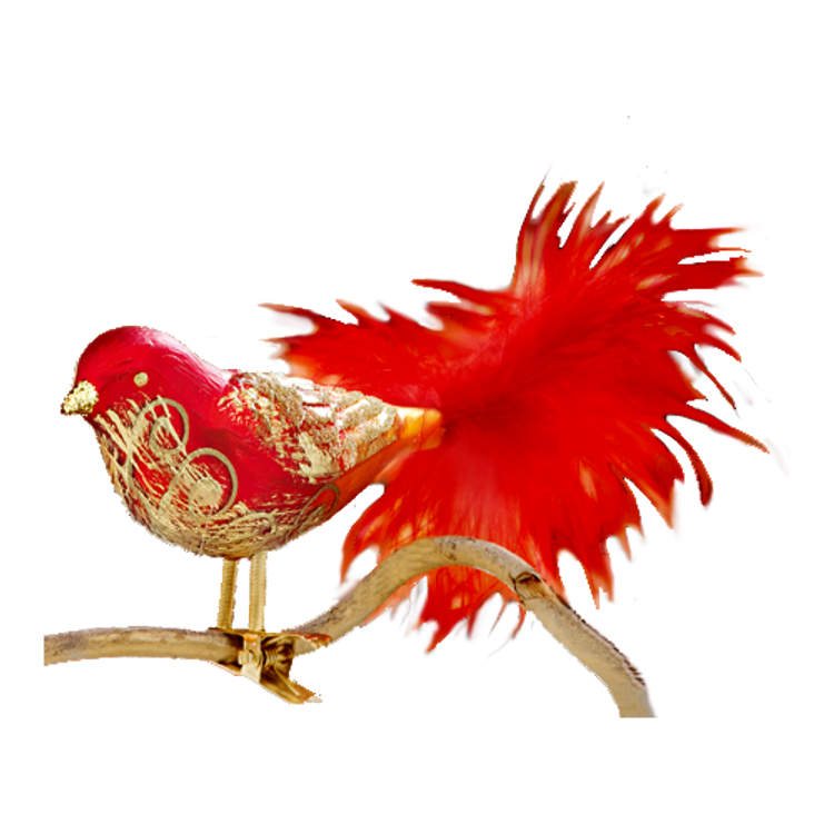 Red and Gold Glass Bird