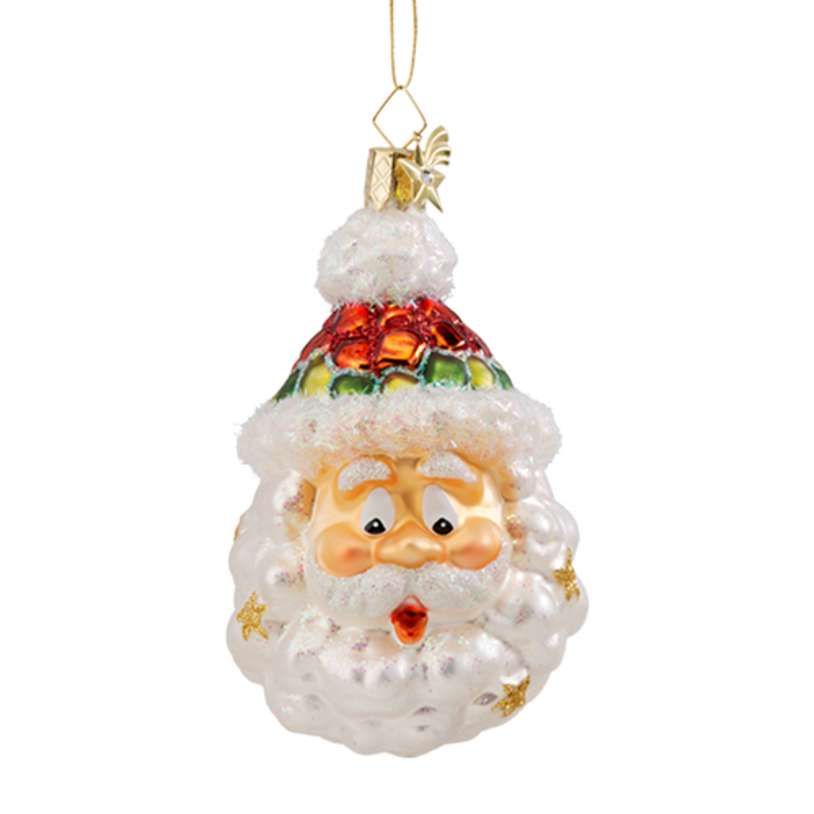 Santa Cloud Glass Ornament