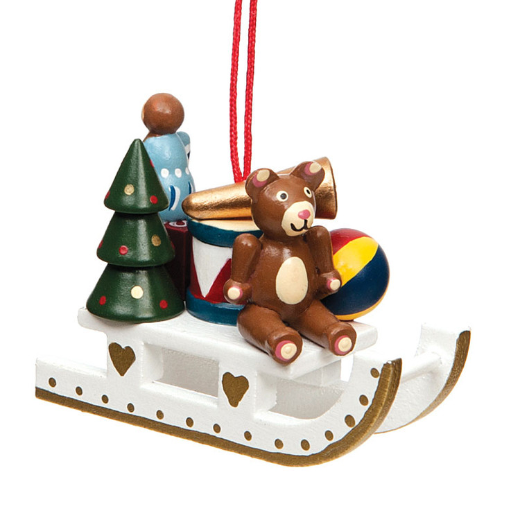 Sleigh with Gifts Wood Ornament