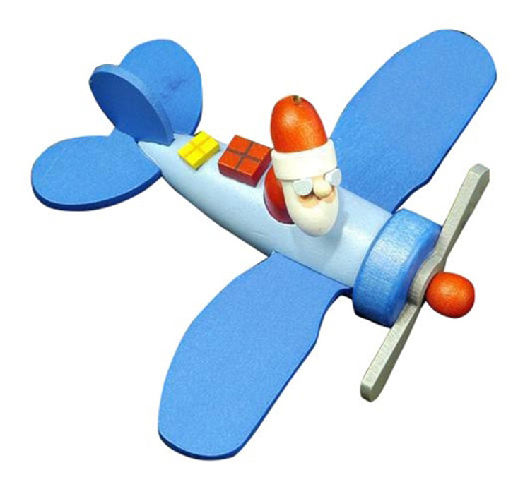 Santa Flying a Blue Airplane