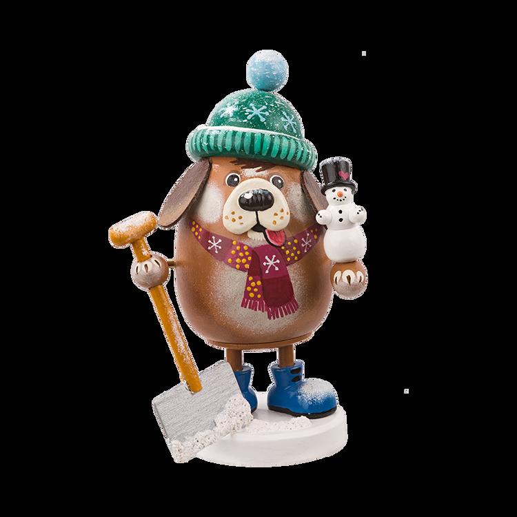 Winter Dog with Shovel