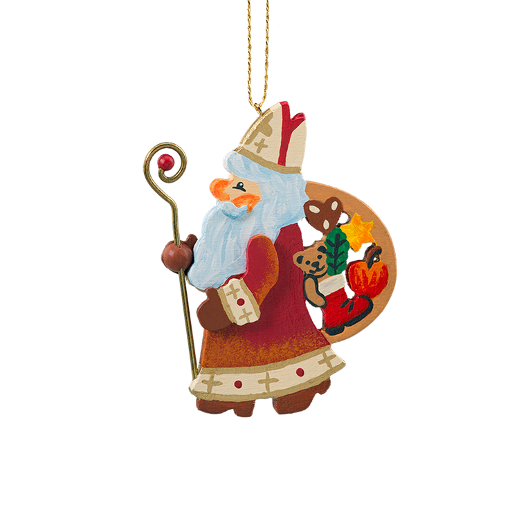 Saint Nicholas Colorful Chirstmas Wood Ornament