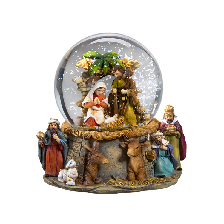 Nativity with Kings Snow Globe