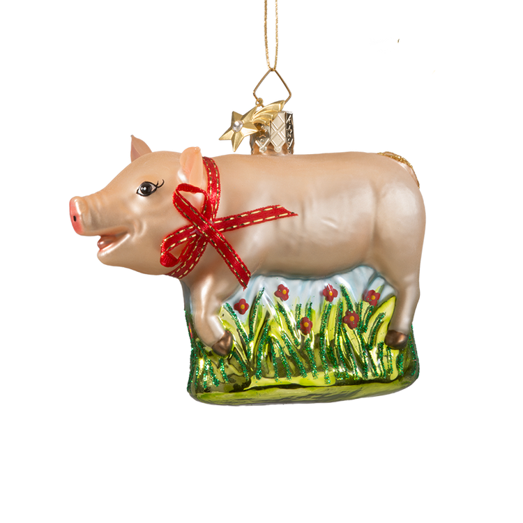 Animal Series Pig Glass Ornament