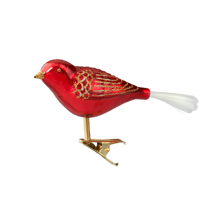 Red Glitter Clip Bird
