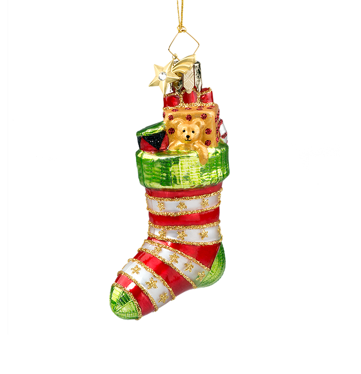 Red Striped Christmas Stocking Glass Ornament