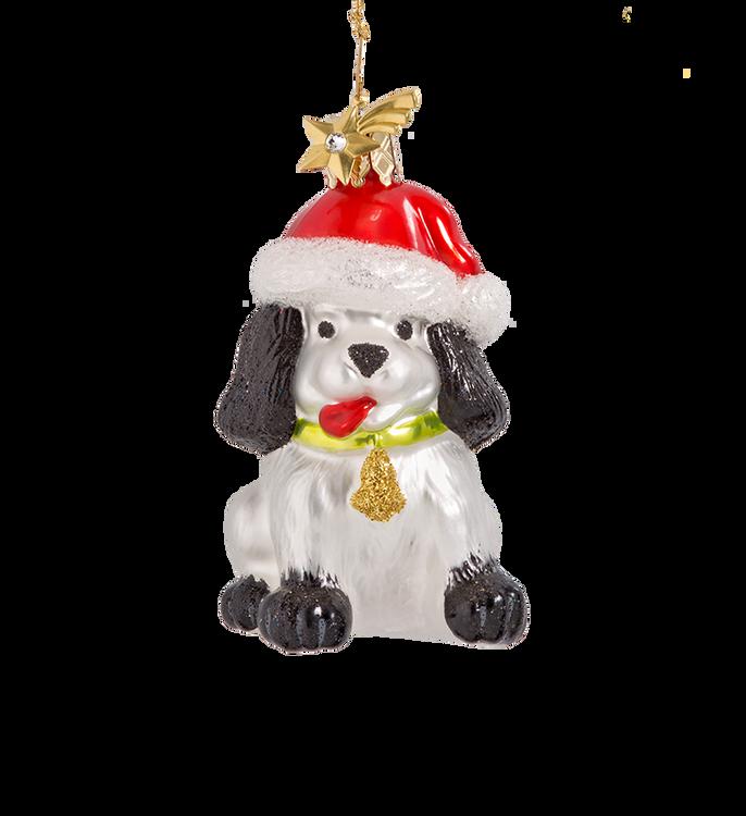 Chirstmas Dog Glass Ornament