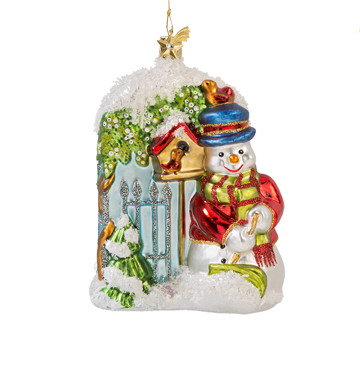 Snowman at the Garden Gate Glass Ornament