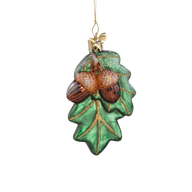 Acorn with Leaves Glass Ornament
