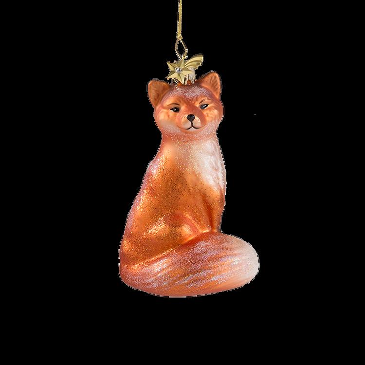 Sitting Fox Glass Ornament