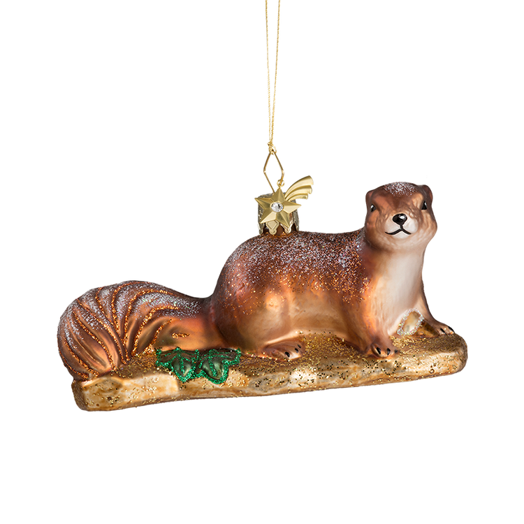 Winter Squirrel Glass Ornament