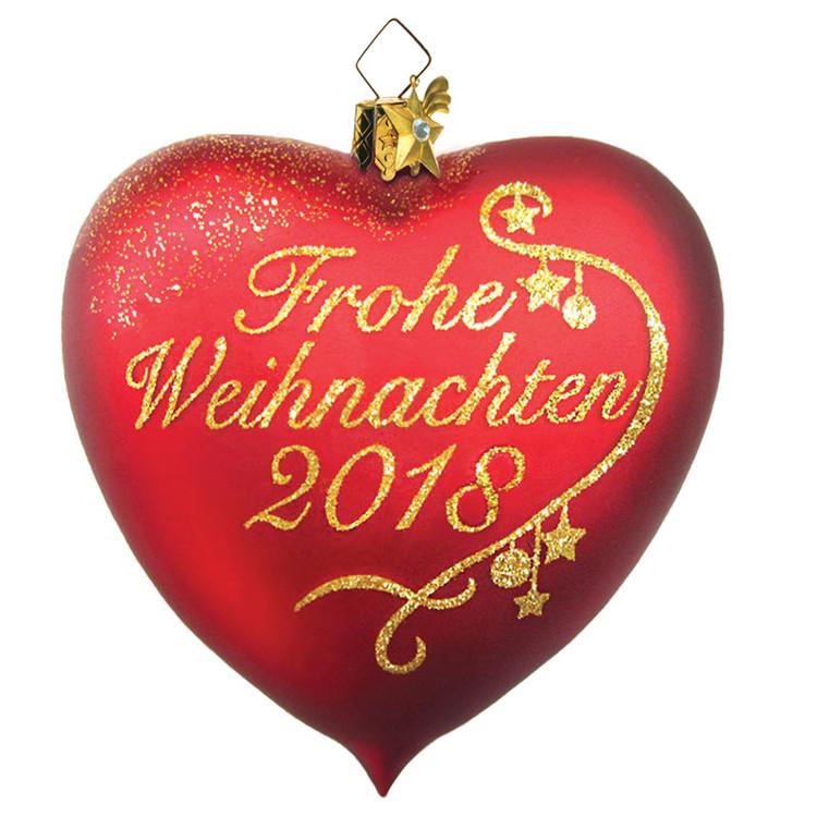 Frohe Weihnachten Glass Heart 2018