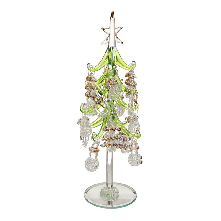 Glass Tree with Clear Ornaments