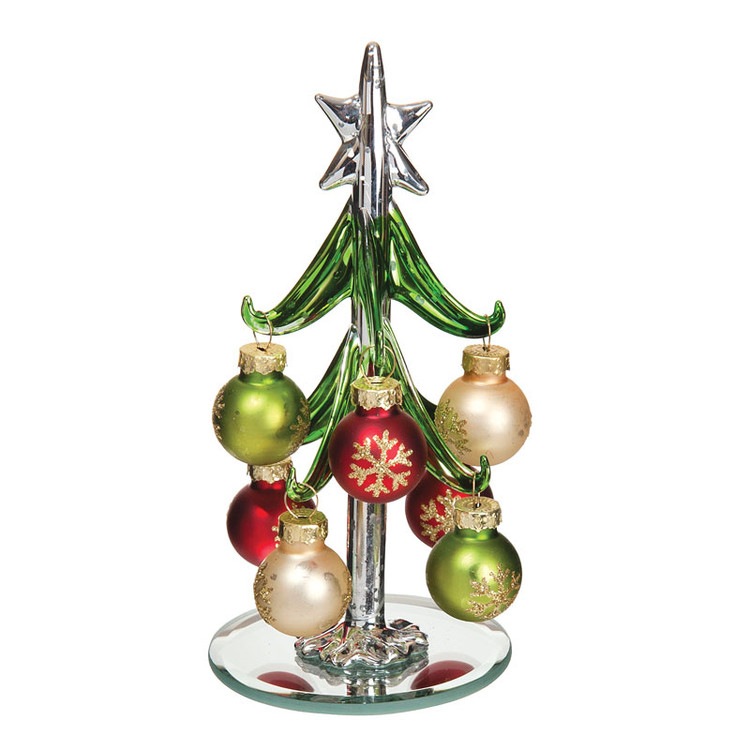 Glass Tree with Matte Ornaments
