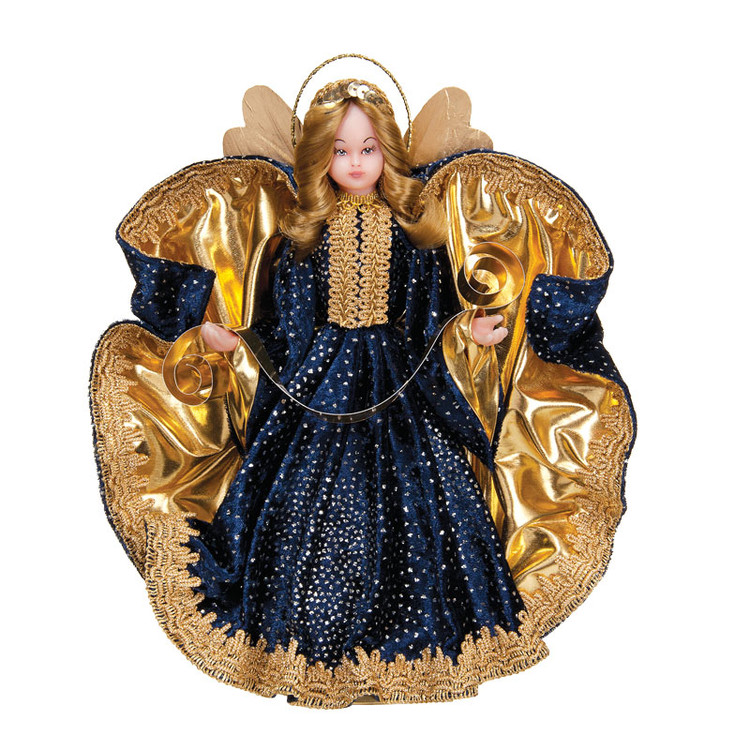 Angel in Navy Gown with Gold Trim