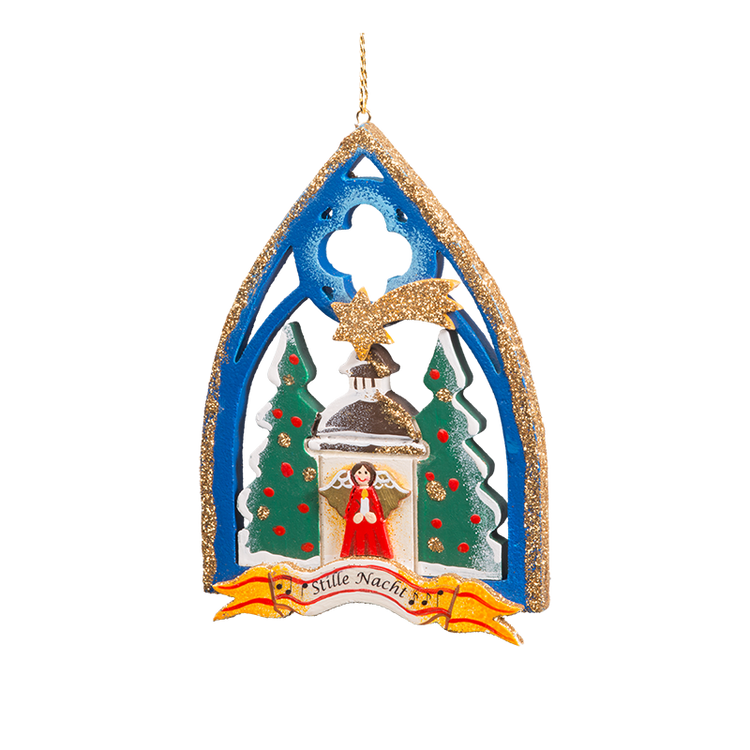 Silent Night Gothic Window Wood Ornament