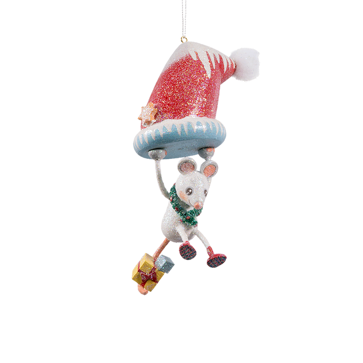Frosty Hanging Mouse Wood Ornament