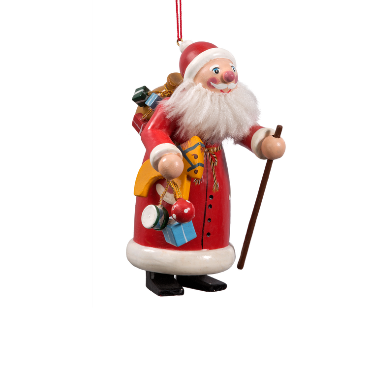 Country Santa with Many Gifts Wood Ornament