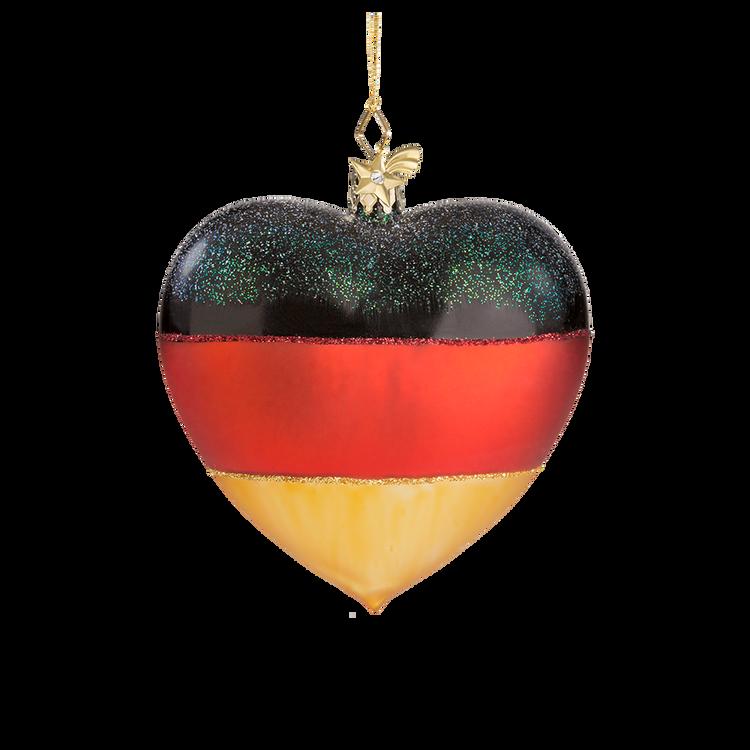 Heart German Flag Glass Ornament