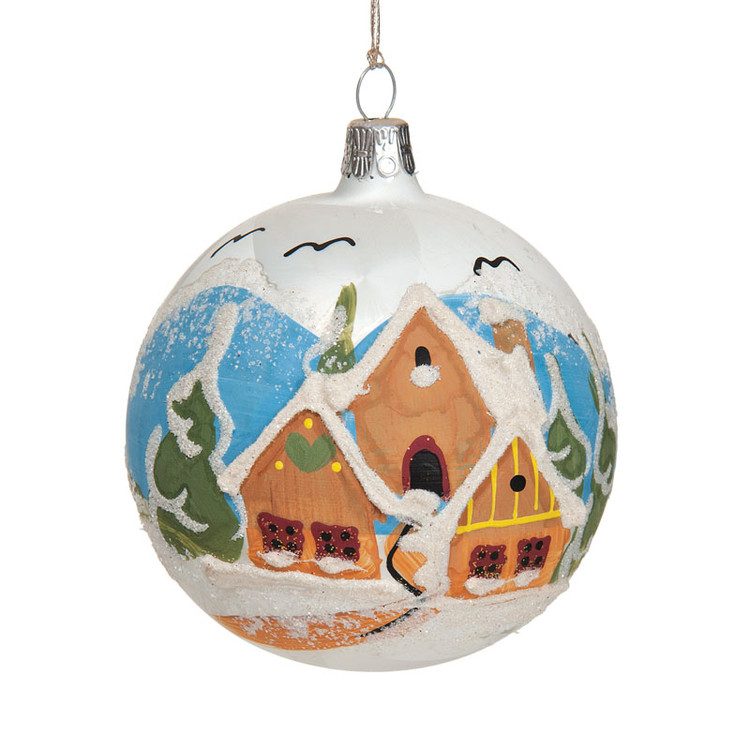 Series Glass White Ball w/ Village Scene