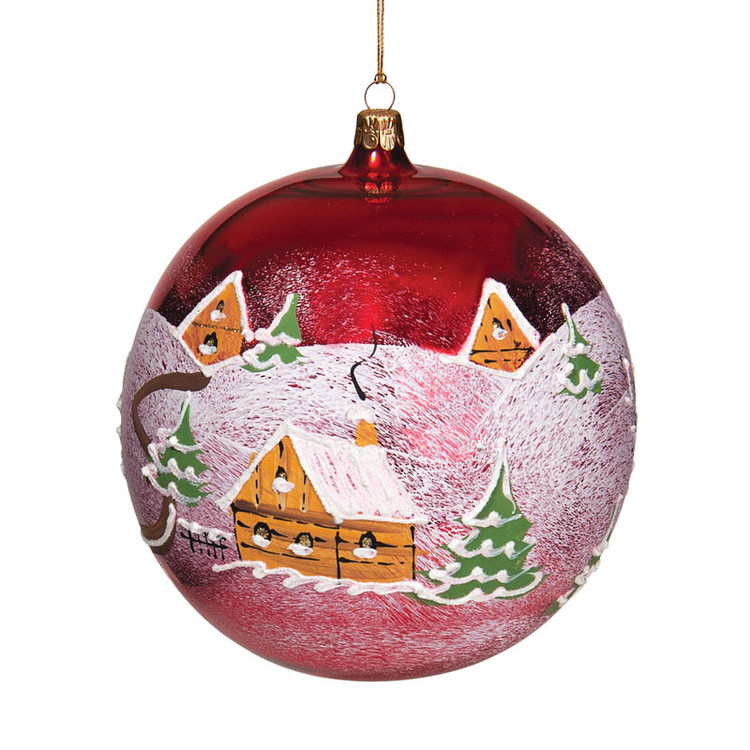 Series Glass Red Ball with Snowy Village