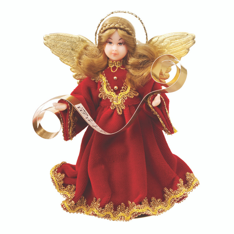 Bright Red with Gold Accents Choir Angel
