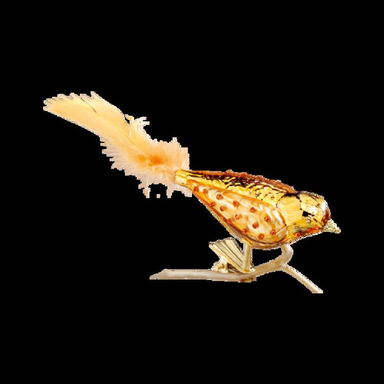 Copper Glitter Bird with Orange Tail