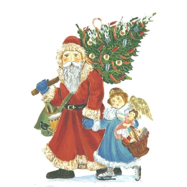 Santa Walking with Angel