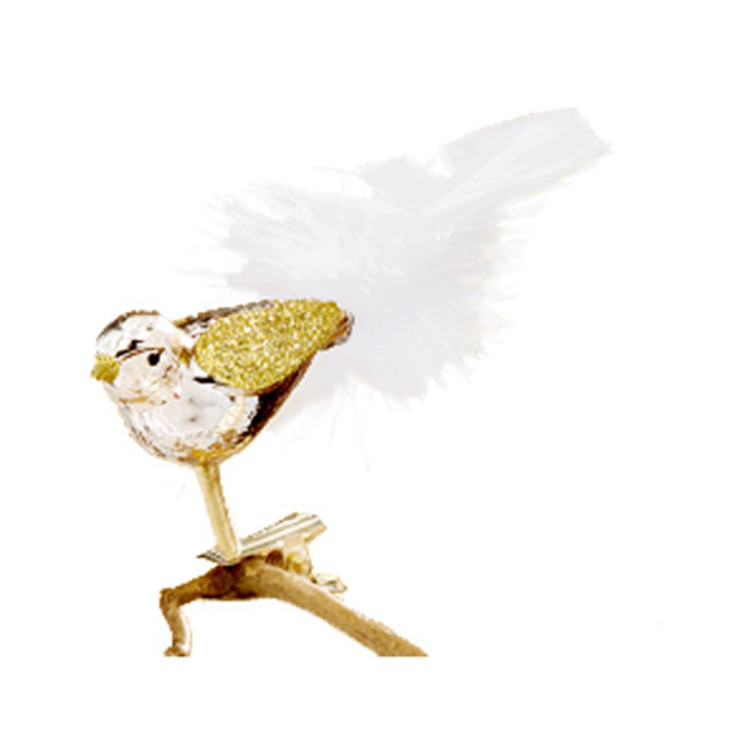 Gold Clip Bird with White Tail