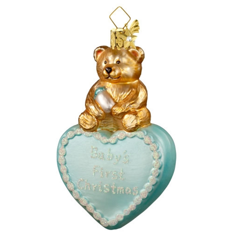 Blue First Christmas Heart with Bear